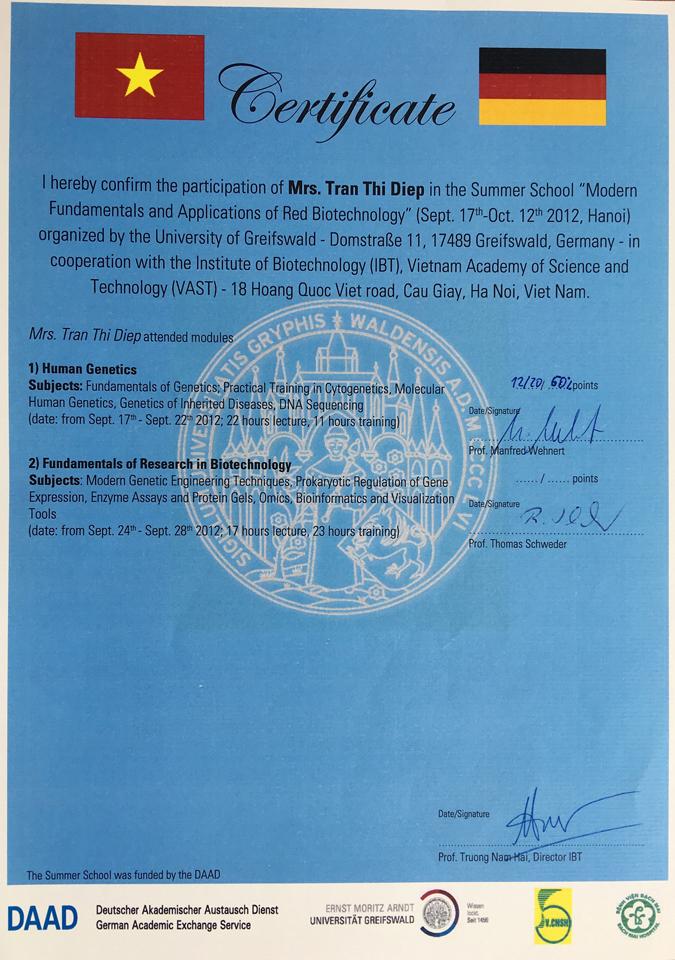 Certificate DAAD Tran Thi Diep